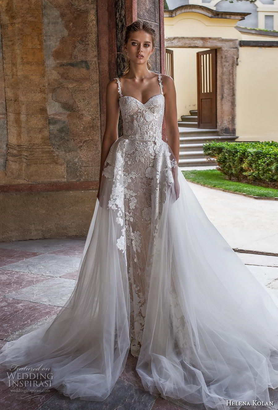 helena kolan 2019 bridal sleeveless thin strap sweetheart neckline full  embellishment romantic princess fit and flare wedding dress a line  overskirt sweep ... 0df23781b8ae
