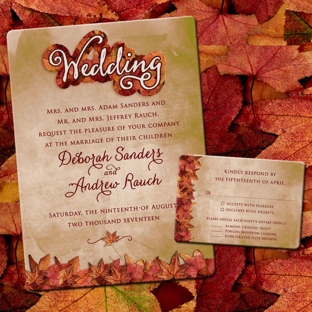 Fall Wedding Card Box Ideas: Autumn Leaves Rustic Wedding Invitation, Fall Wedding