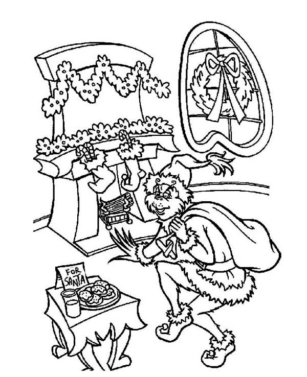 christmas the grinch sneaking out to steal christmas gifts coloring page