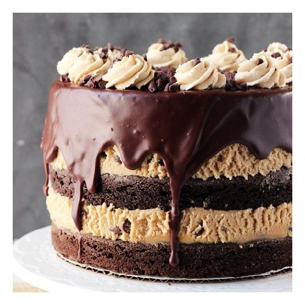 Cookie Dough Brownie Layer Cake foodgawker liked on Polyvore