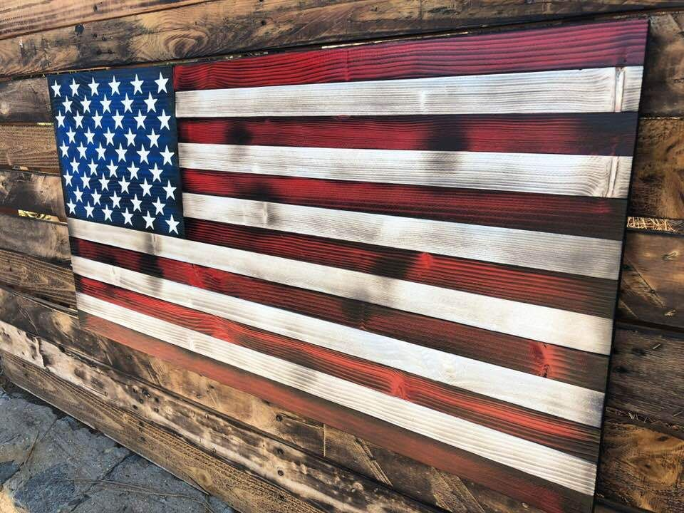 100 Handcrafted Flag With Each Of The 50 Stars Painted By Hand All Hand Painted On Selected Pieces Of Wood Made In The U American Flag Wood Wooden American Flag Wood Flag