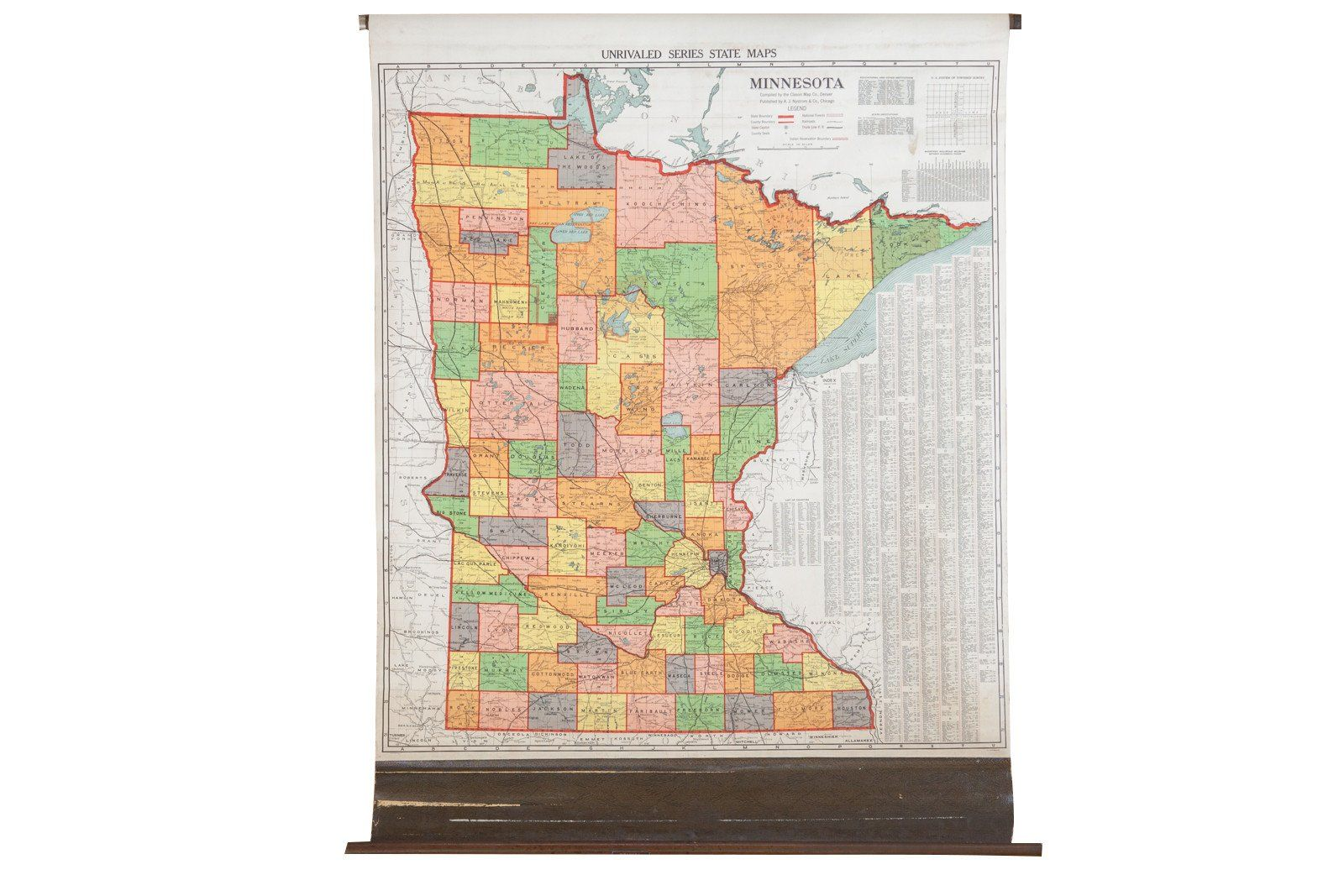 Antique Nystrom Pull Down Map of Minnesota