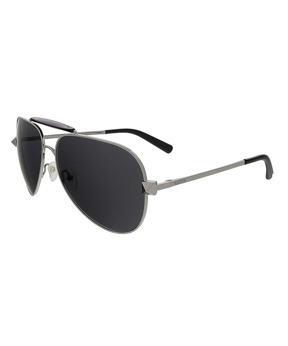 21530a1a65 VALENTINO V115S 027 Gunmetal Black Aviator Sunglasses .  valentino   sunglasses
