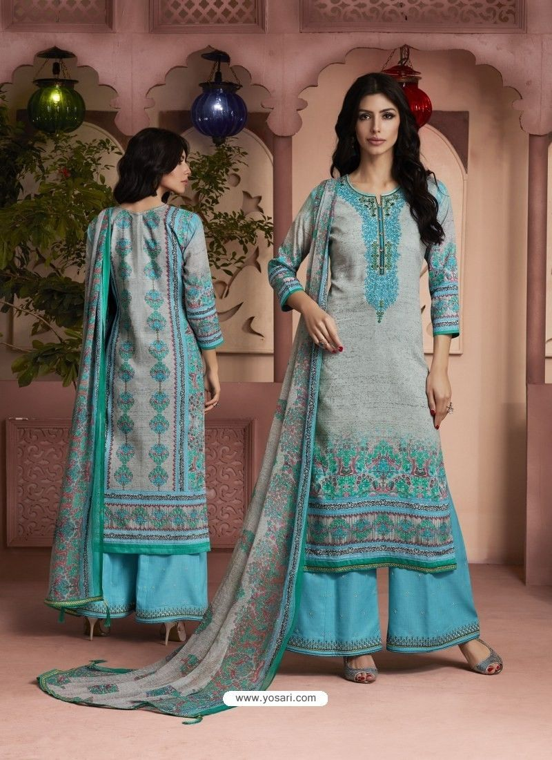 b9d0eeff22 Sky Blue And Grey Printed Pure Cotton Designer Palazzo Suit in 2019 ...