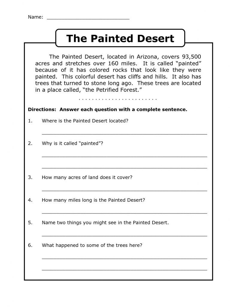- 4th Grade Reading Comprehension Worksheets Reading Worksheets