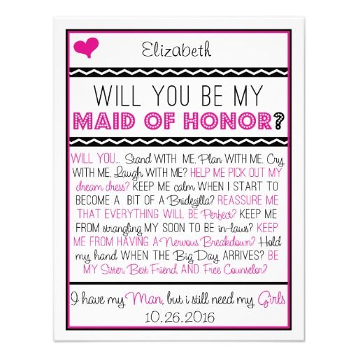 Will You Be My Maid Of Honor? Pink/Black Collage