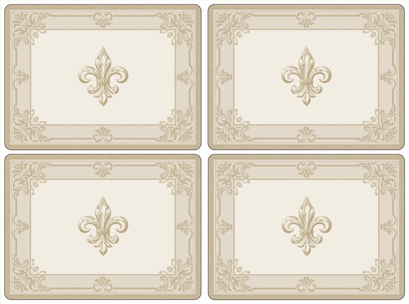 Pimpernel FDC-Fleur de Lys Taupe/Gold Placemats Set of 4 | Decor ...