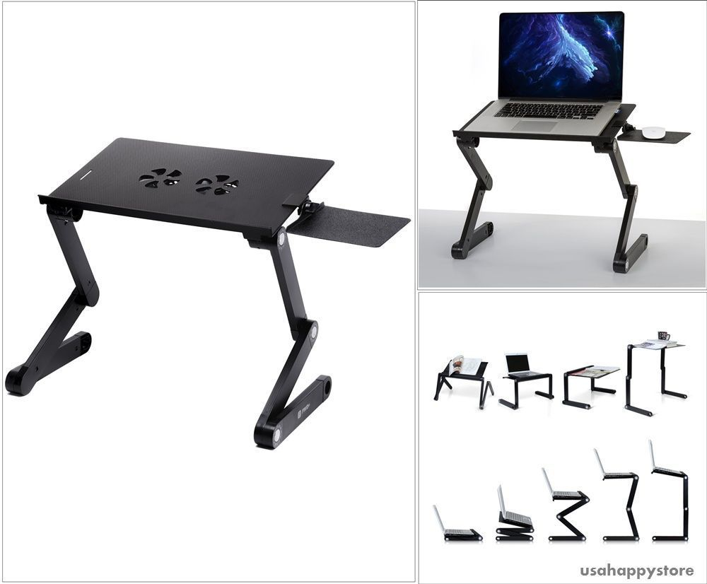 Details about Laptop Holder Stand Book Desk Table Adjustable Mouse ...