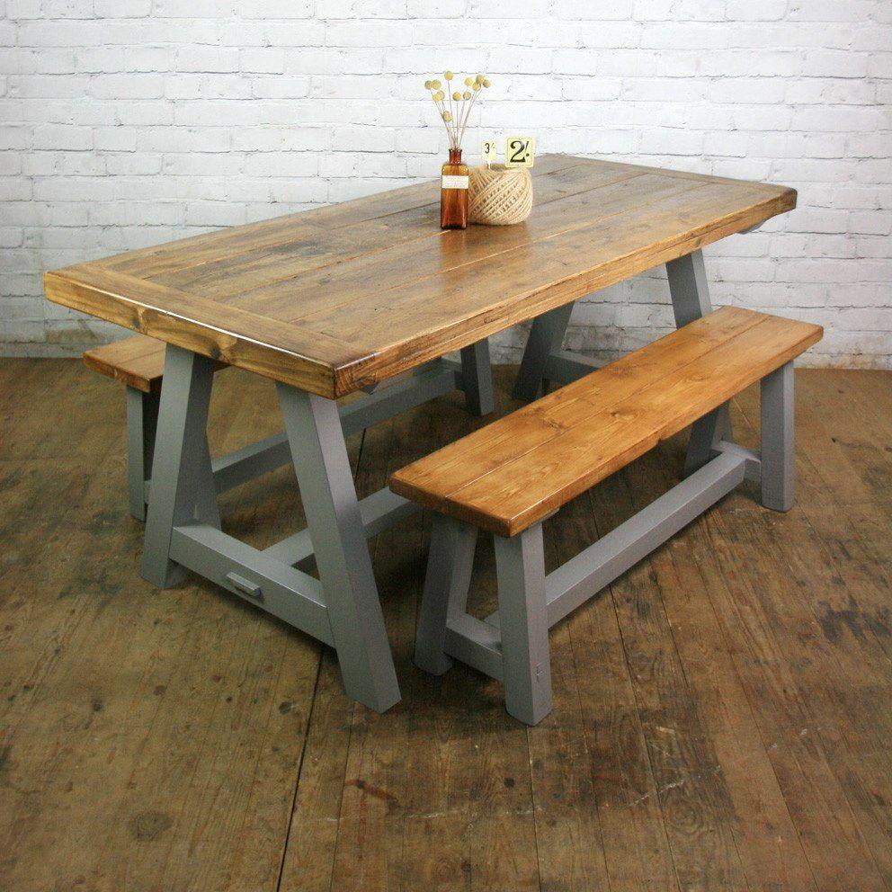 3 mesa comedor quincho con bancos madera vintage rustico en mercadolibre dining - Banco de madera rustico ...
