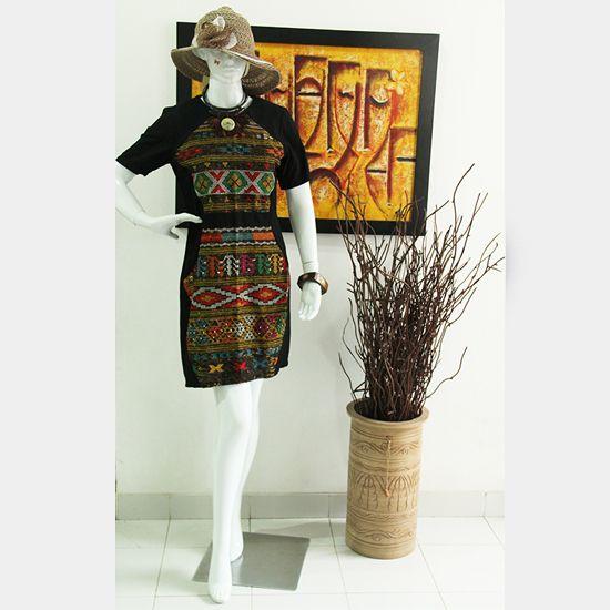 Dress Ulos Batak Bahan Ulos Kombinasi Tenun Bima Ukuran S M