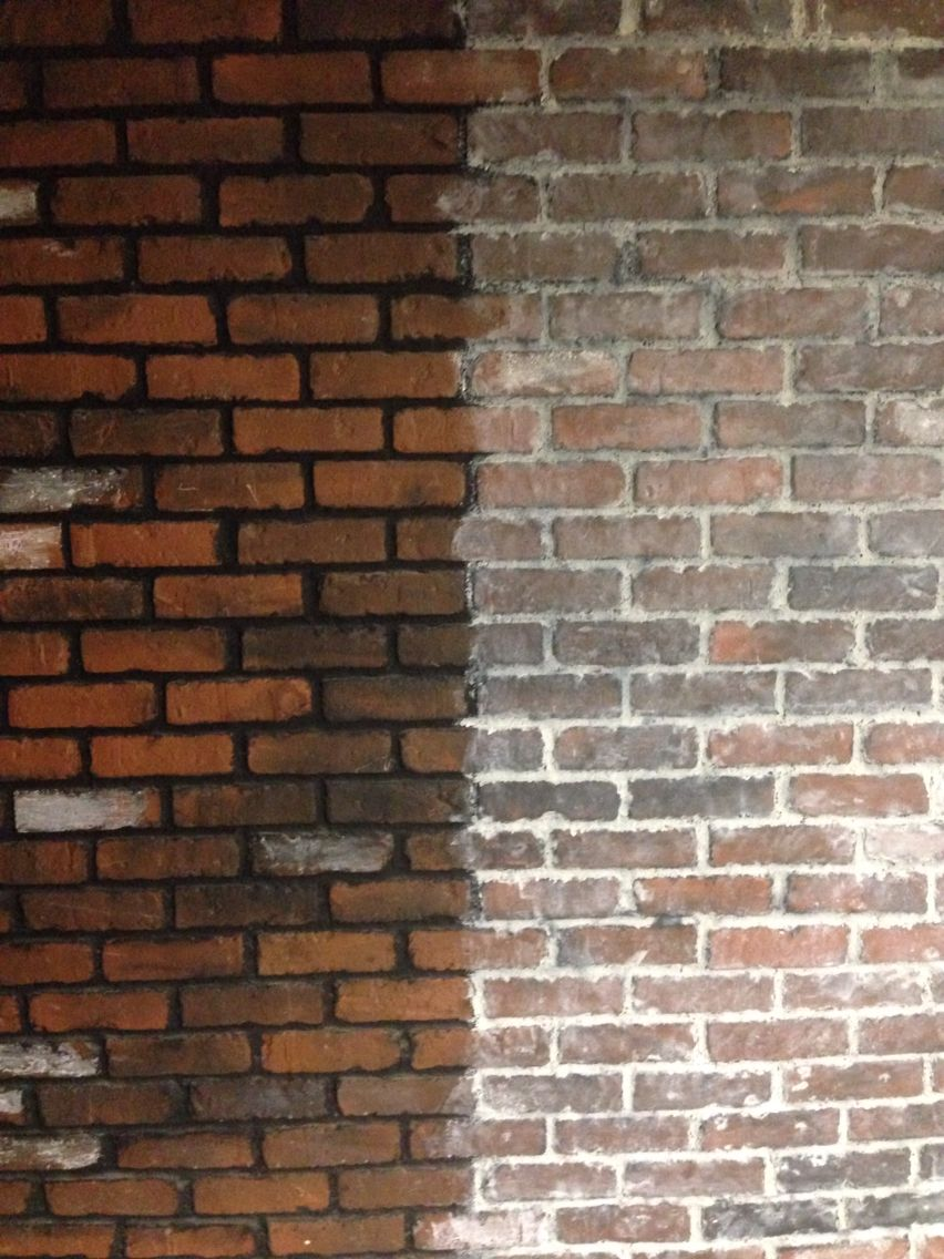 Whitewashing Fake Brick Board With 50 50 Water And Lightest Gray