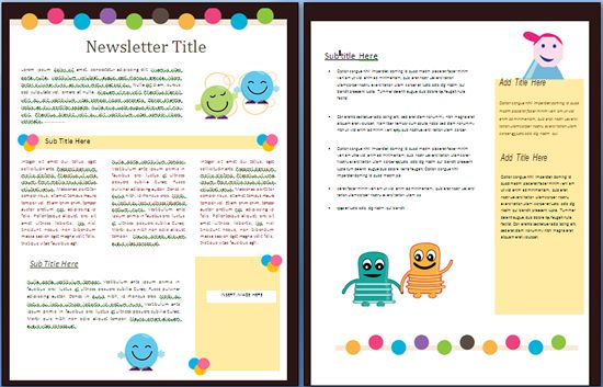 Creature Newsletter Suitable For Use In A NurserySchool To Inform