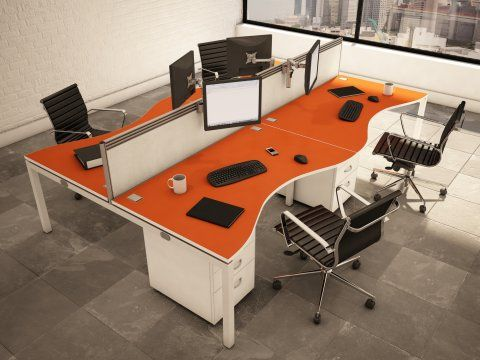 Orange Office Bench Desks | My Style | Pinterest | Orange ...