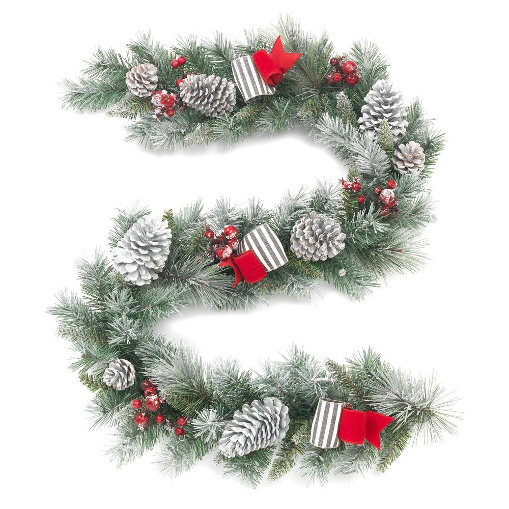 Home Accents Holiday 6 Ft Unlit Snowy Garland With Pinecones And Bows Christmas Mantle Decor Holiday Decor Christmas Holiday