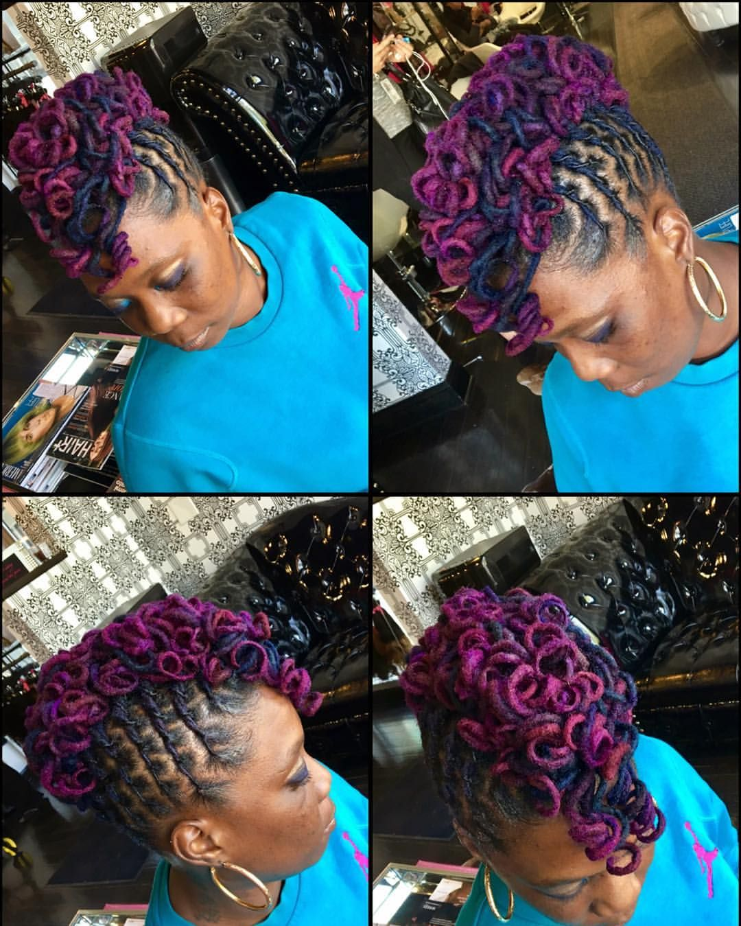 Back to business locs color mohawk updos styledlocs
