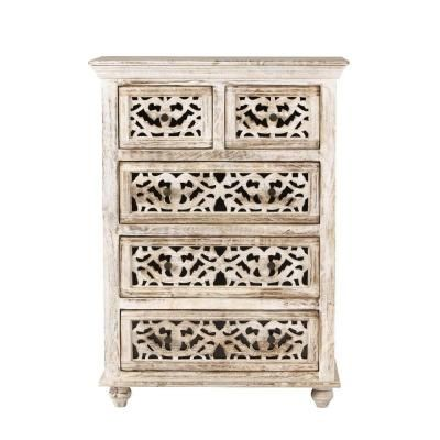 Home Decorators Collection Maharaja 5 Drawer Sandblast White Chest Of Drawers 1472700820 The Home Depot Home Decorators Collection White Chests White Chest Of Drawers