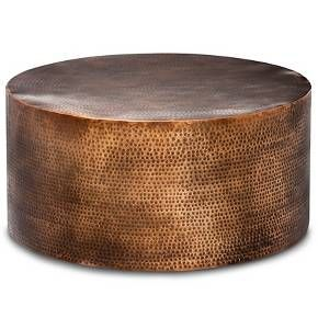 Manila Round Hammered Drum Coffee Table Brass Project 62 In 2020 Barrel Coffee Table Barrel Coffee Copper Coffee Table