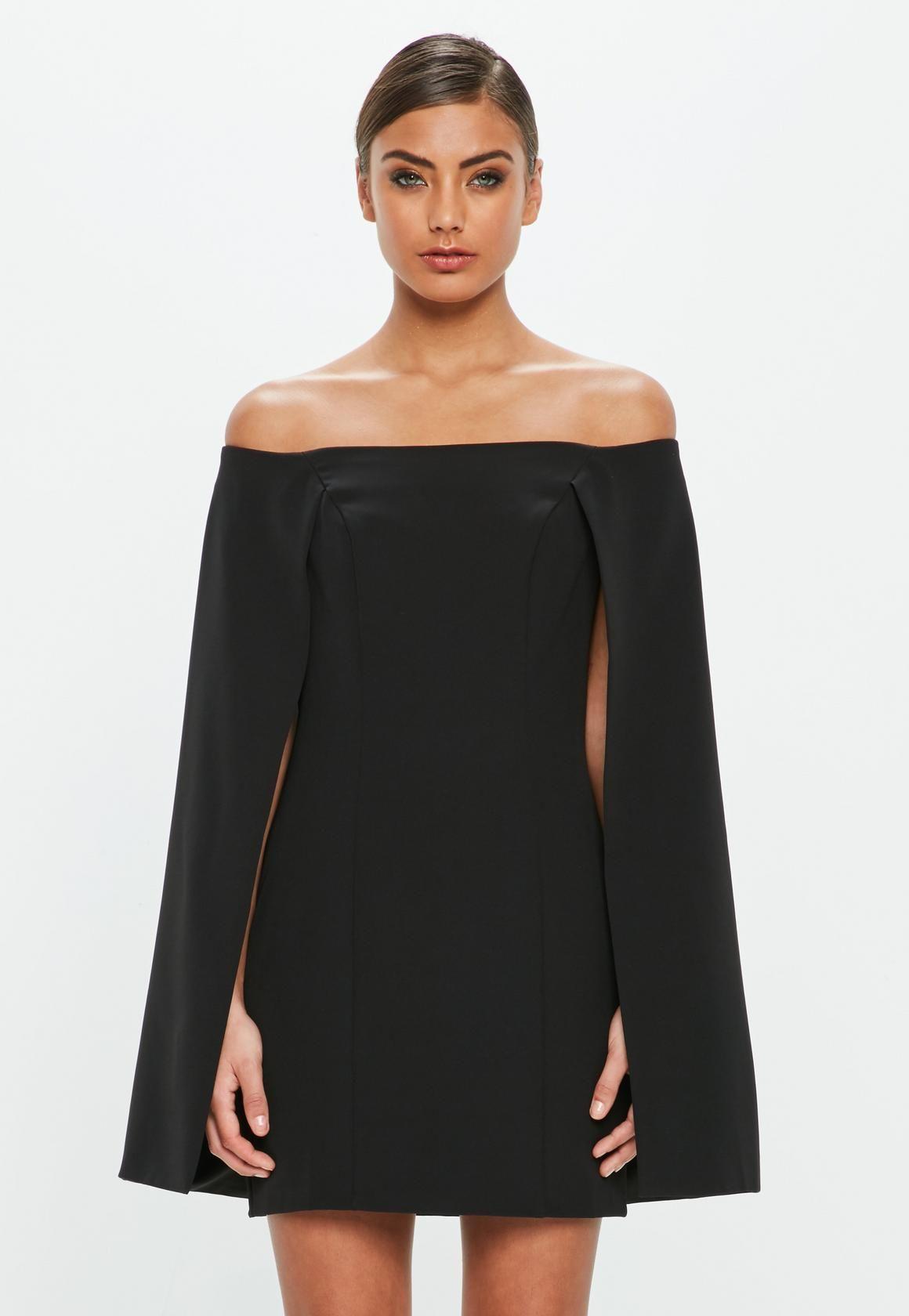 3aa85f41c8b4e0 Missguided - Peace Love Black Bardot Cape Tailored Mini Dress