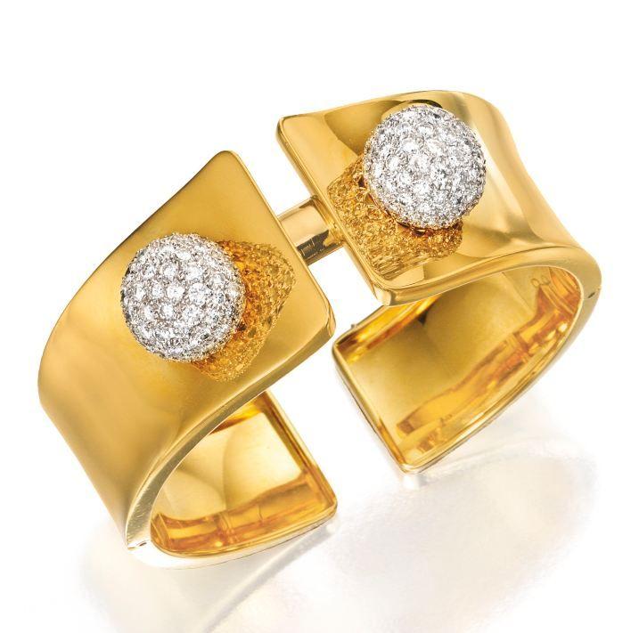 18 Karat Gold and Diamond CuffBracelet Cartier London