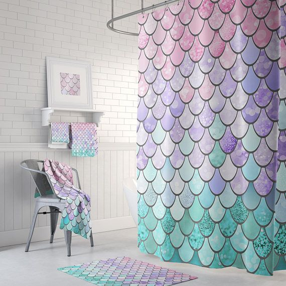 Pastel Mermaid Scales Shower Curtain Bathroom 71 X 74