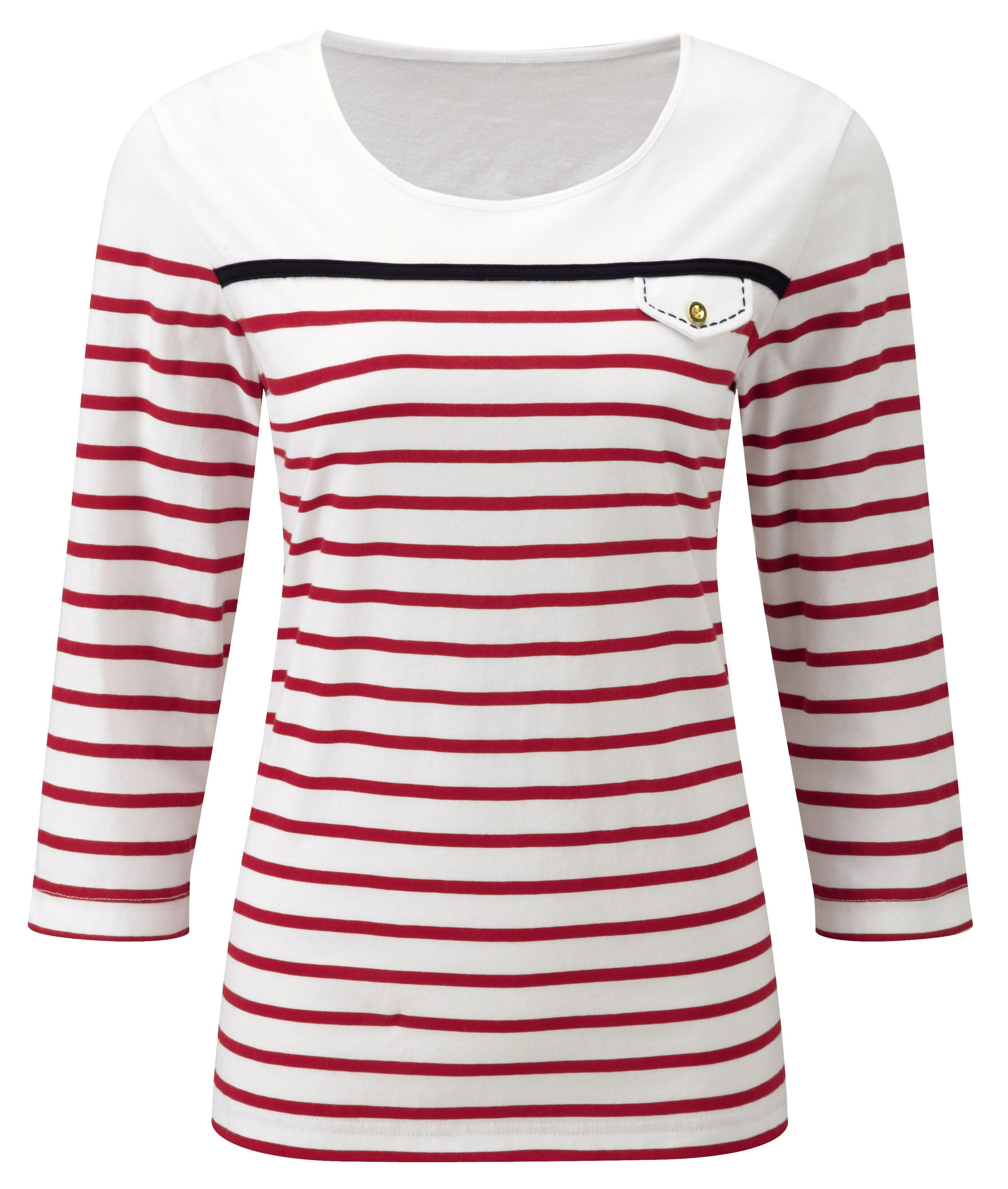 Striped Sailor Neck Top In Red Stripe Reference Code W334 Www Damart Co Uk Tops Mens Tops Striped