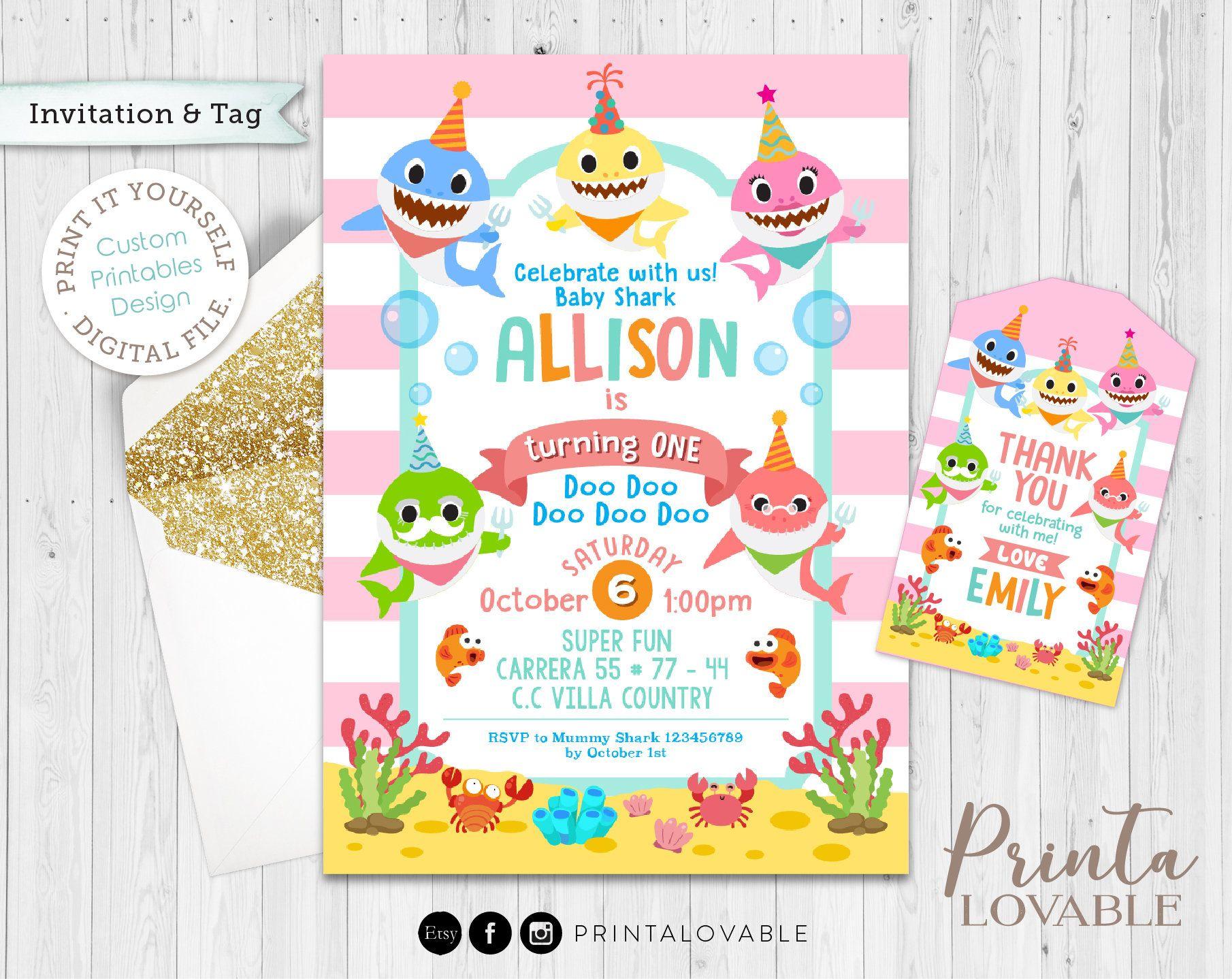Digital Pink Shark Invitation And Free Thank You Tags Girl Etsy Shark Themed Birthday Party Shark Birthday Invitations Shark Birthday Party Invitation