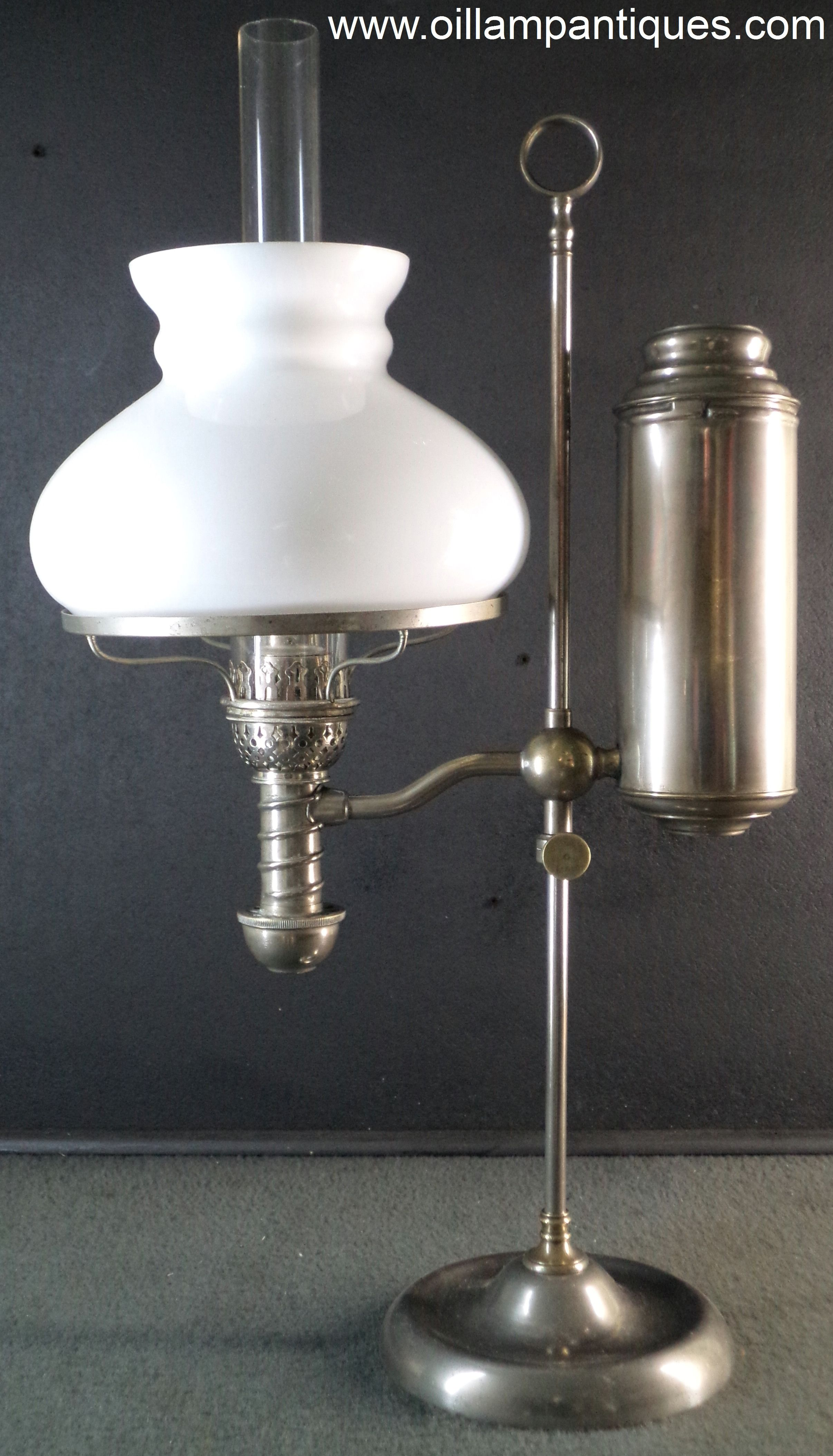 Student Lamp Glass Shades: This Manhattan student lamp is complete with an original, opal glass shade.  It was,Lighting