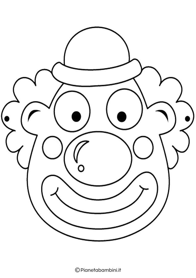 65 Maschere Di Carnevale Da Colorare E Ritagliare Pagliacci Maschere Maschere Bambini