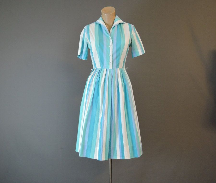 60s Turquoise Striped Shirtwaist Dress, 34 bust, Full Pleated Skirt, Vintage 1960s Cotton Fit & Flare Day Dress by dandelionvintage on Etsy