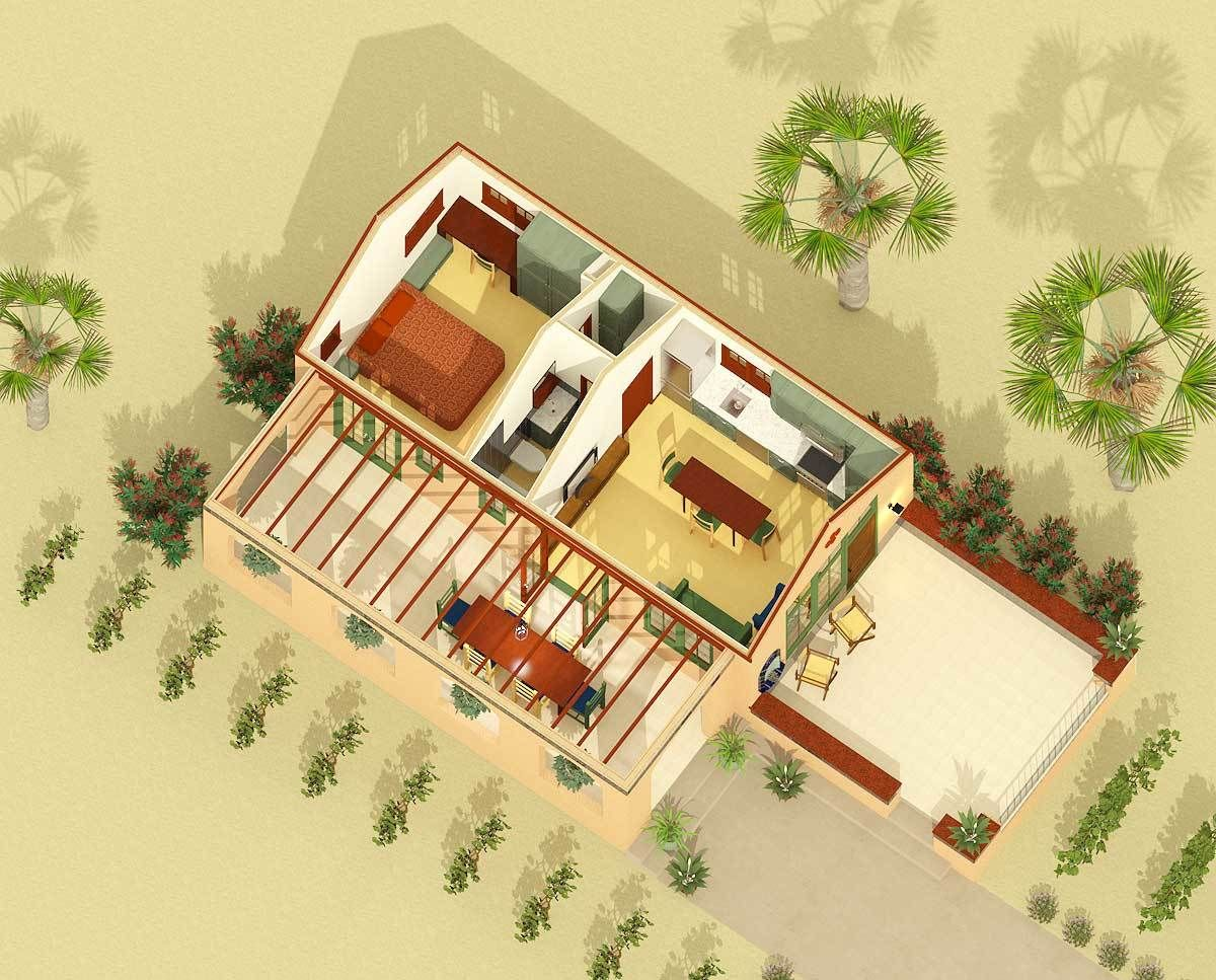 Plan 490002rsk Tiny Spanish Hacienda House Plan With Outdoor Living House Plans With Photos Free House Plans Small House Kits