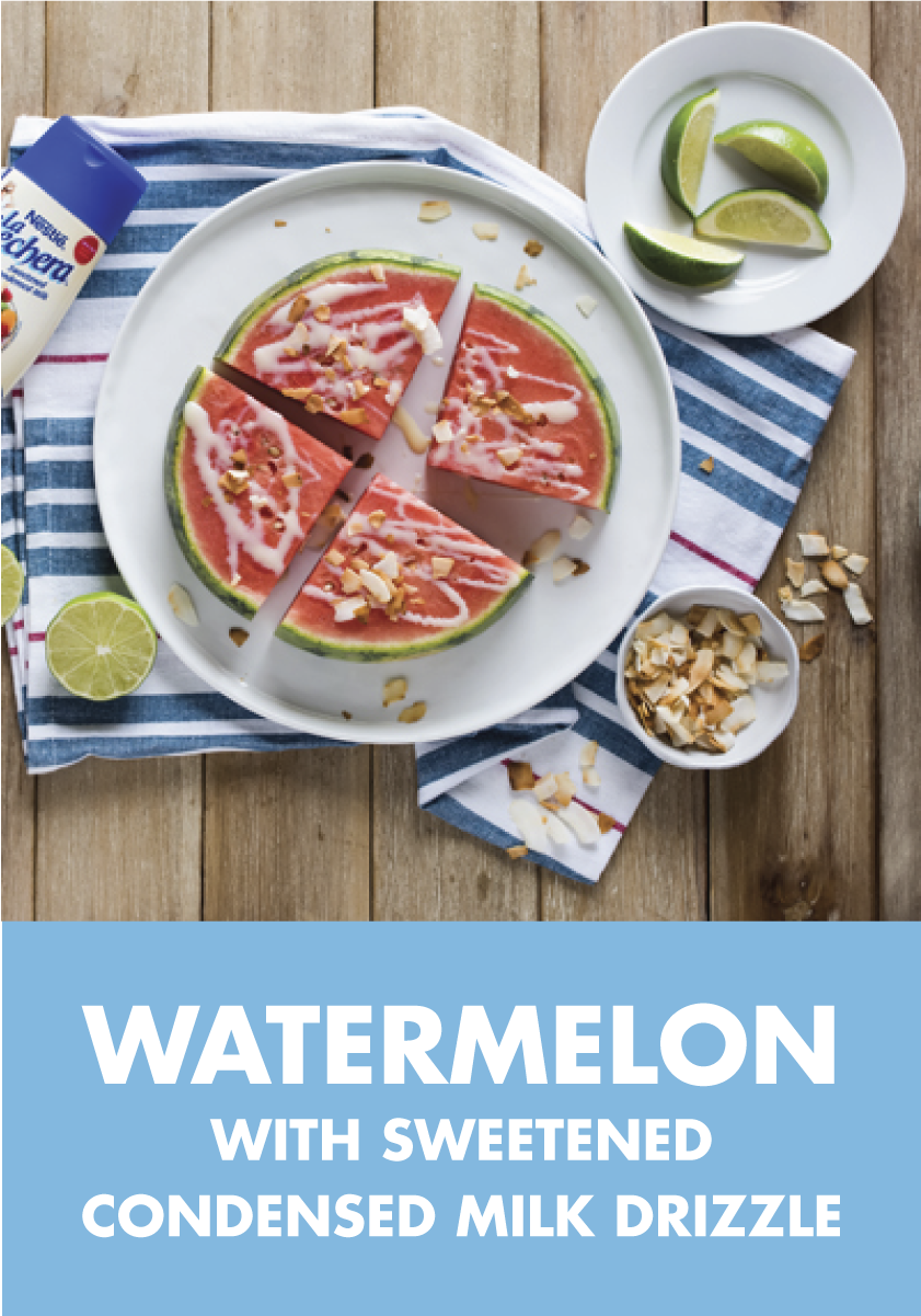 Photo of Sliced Watermelon with Sweetened Condensed Milk Drizzle