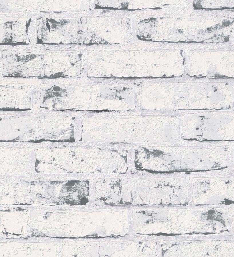 Papel pintado imitaci n ladrillo blanco cuarteado en negro - Ladrillo caravista blanco ...