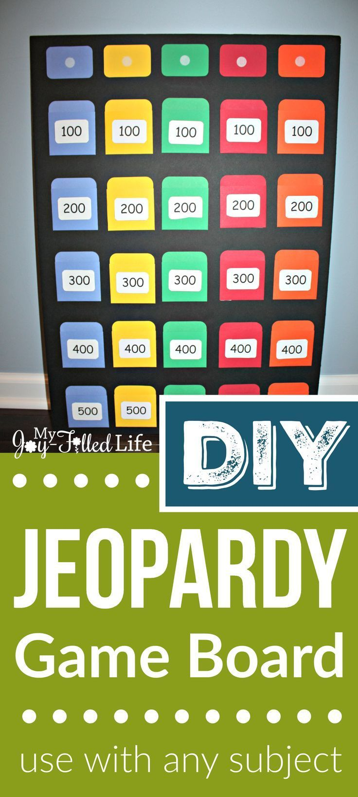 Diy Jeopardy Game Board Jeopardy Game Board Games Diy Family Games