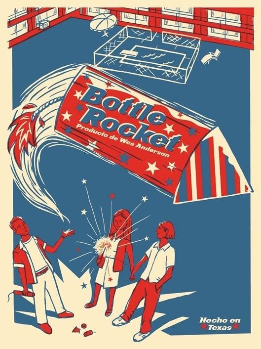 BOTTLE ROCKET Print for Wes Anderson Gallery Show by Ridge Rooms, via Behance