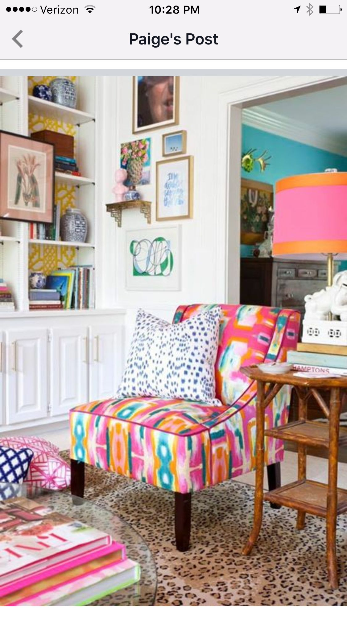 Bold and colorful Evans Chair in The Pink Clutch\'s One Room ...