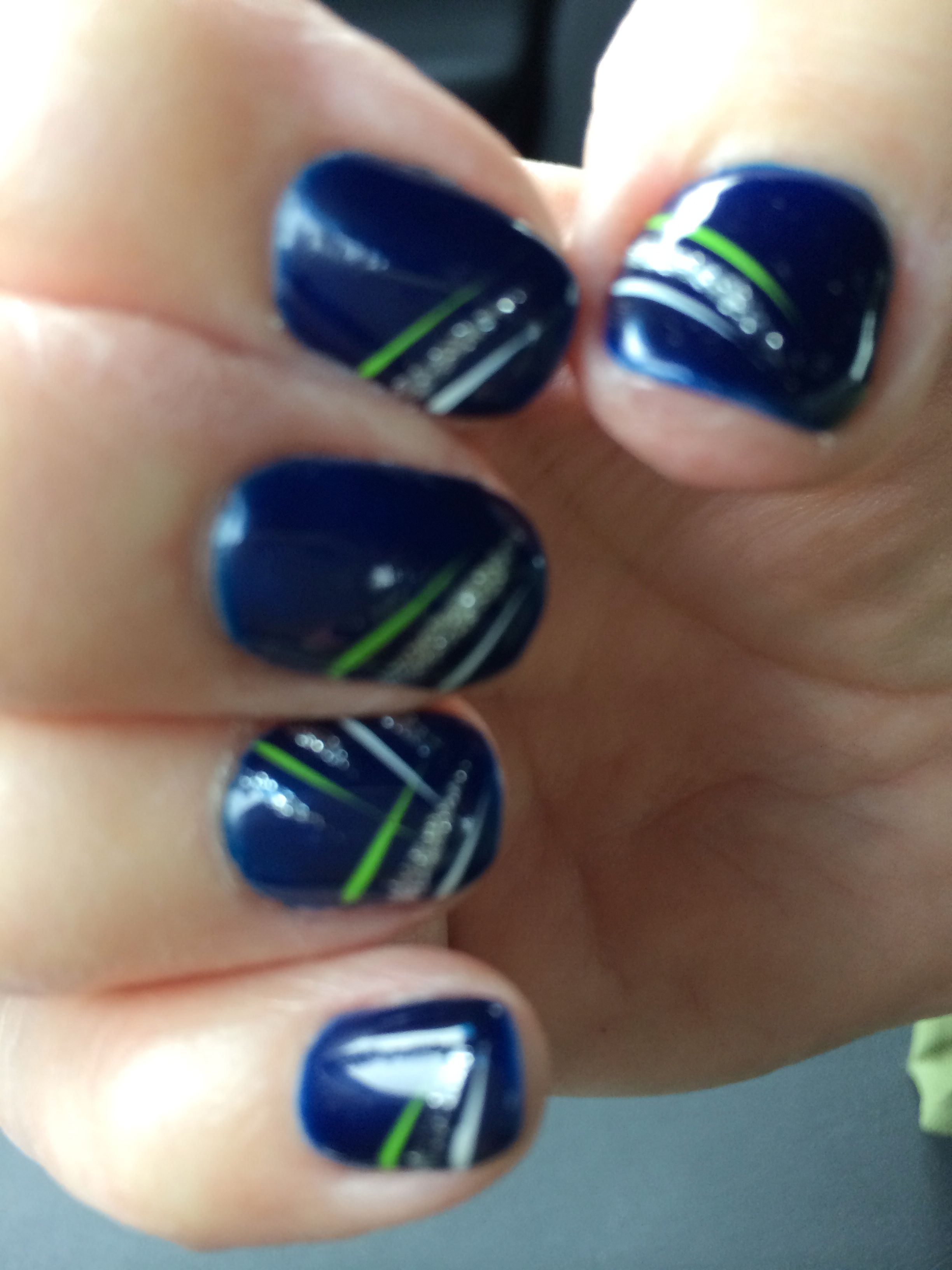 Super Bowl Nails might have to change colors for bronos. LOL or do ...