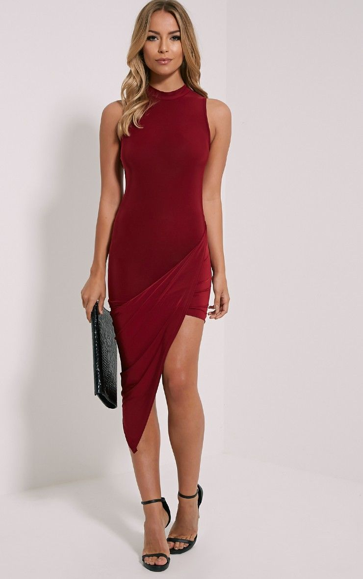 Prim Burgundy Slinky Drape Asymmetric Dress Dresses