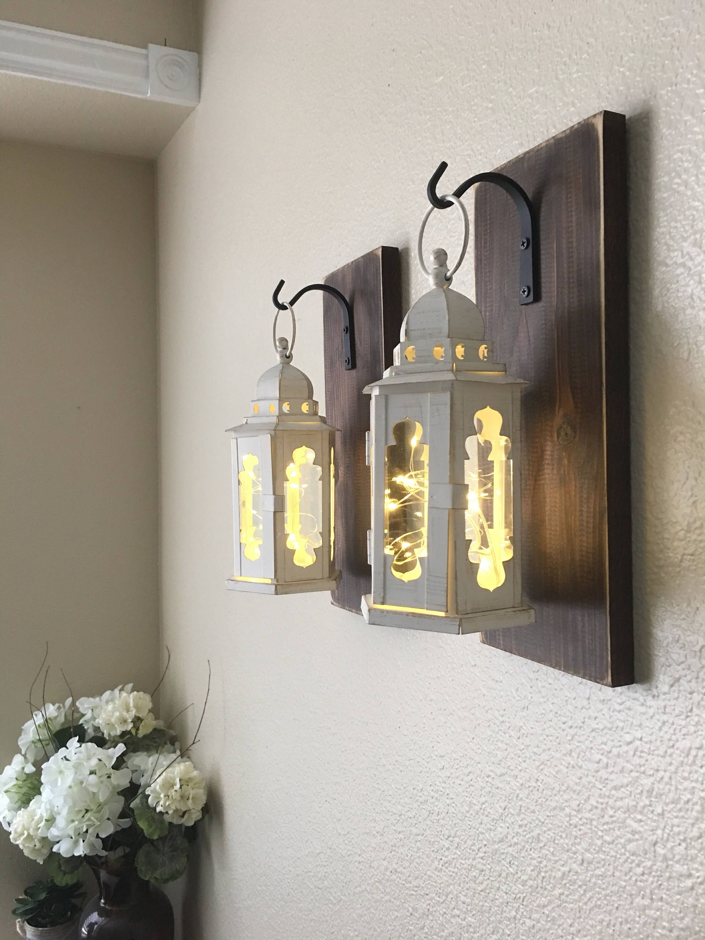 etsy lanterns hanging by set of pin wall decor sconce home farmhouse rustic lantern