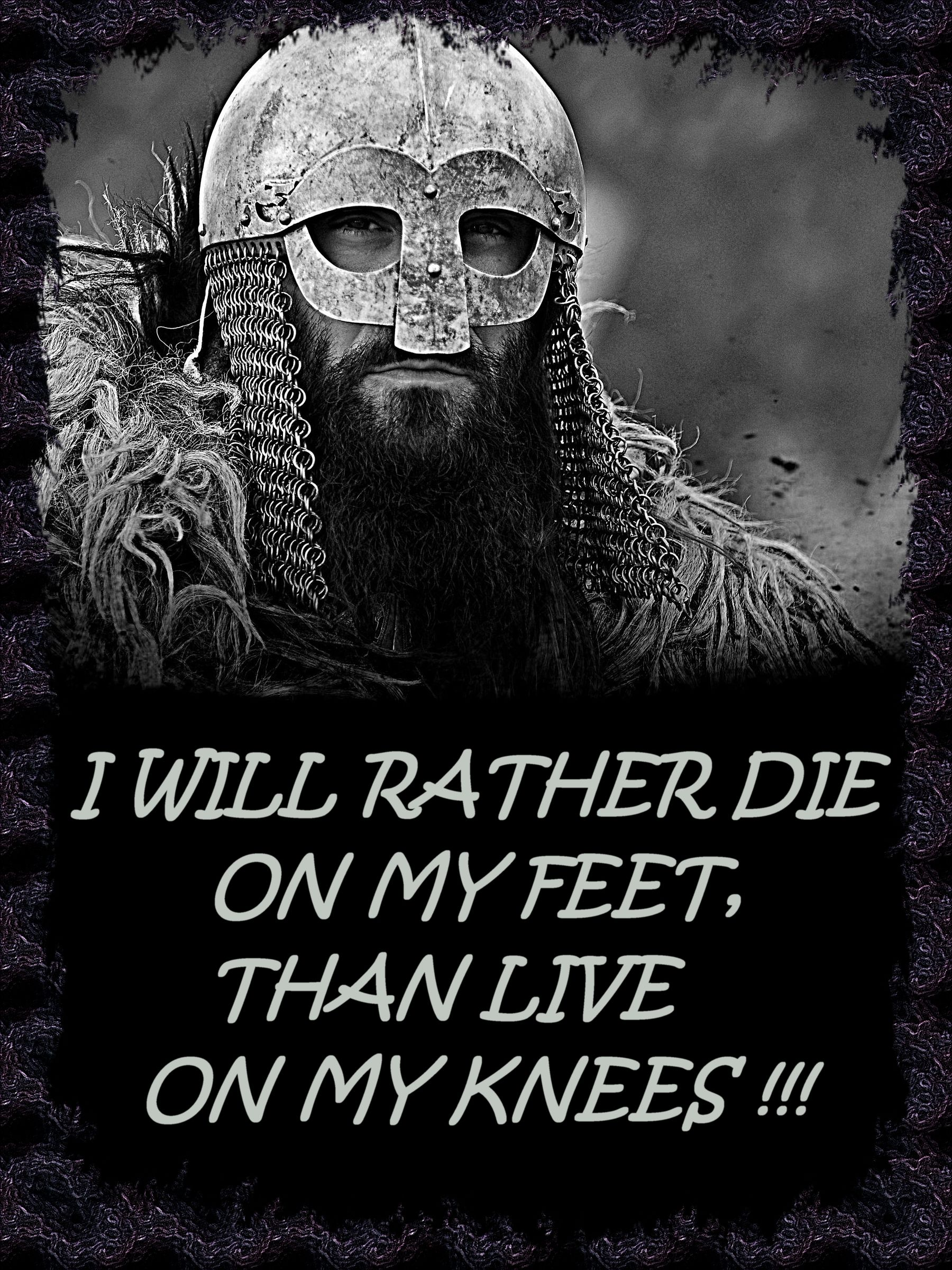 I Will Rather Die On My Feet Than Live On My Knees Hail Odin