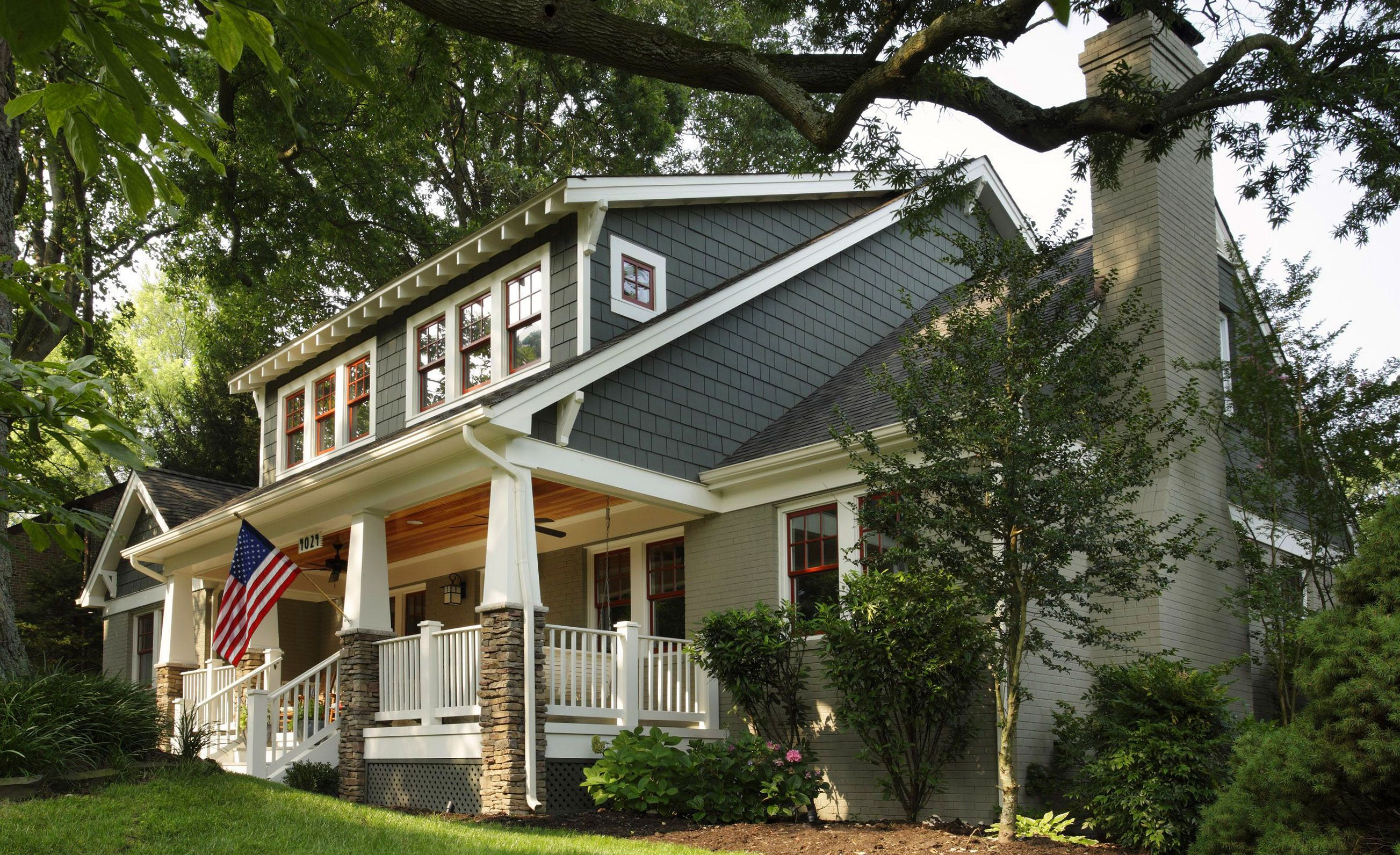 Craftsman exterior like the shed dormer front porch natural wood ceiling on porch