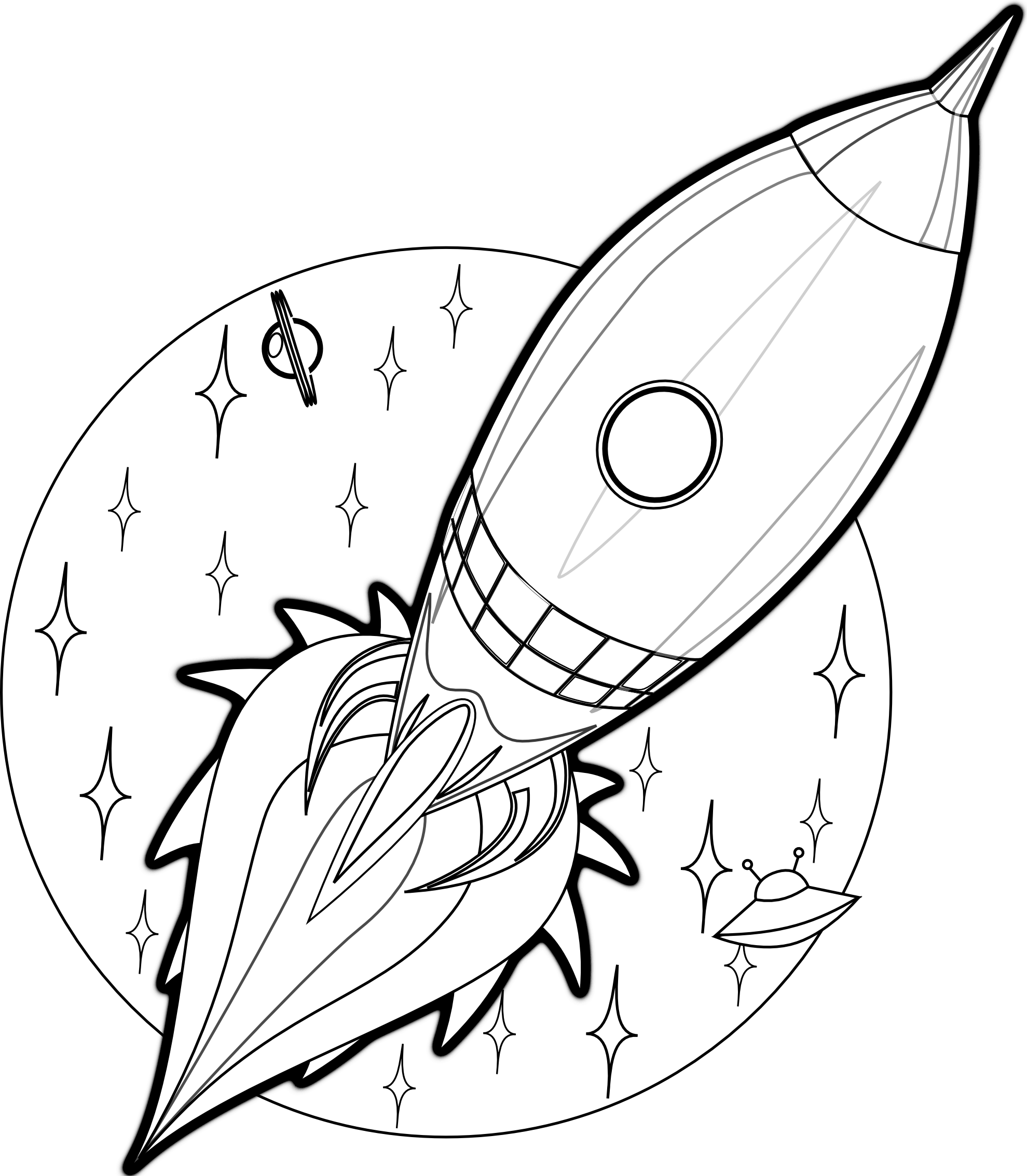 Free Printable Rocket Ship Coloring