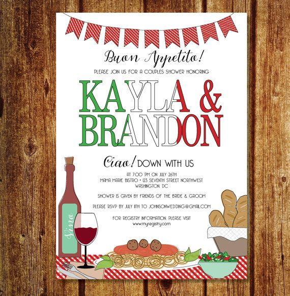 italian couples shower invitation italian rehearsal dinner