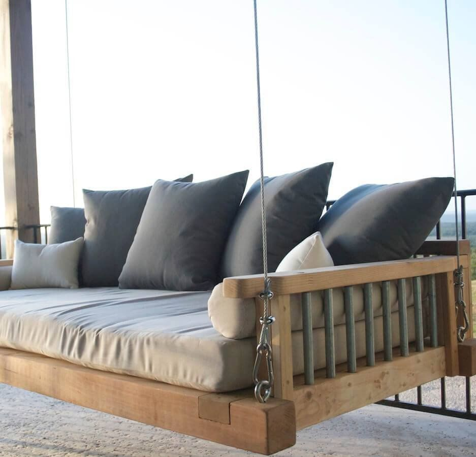 Imagine Floating And Relaxing On Your Swing Bed Your Amazing Views From Your Porch Or Balcony Drawi Diy Patio Furniture Porch Swing Bed Pallet Patio Furniture