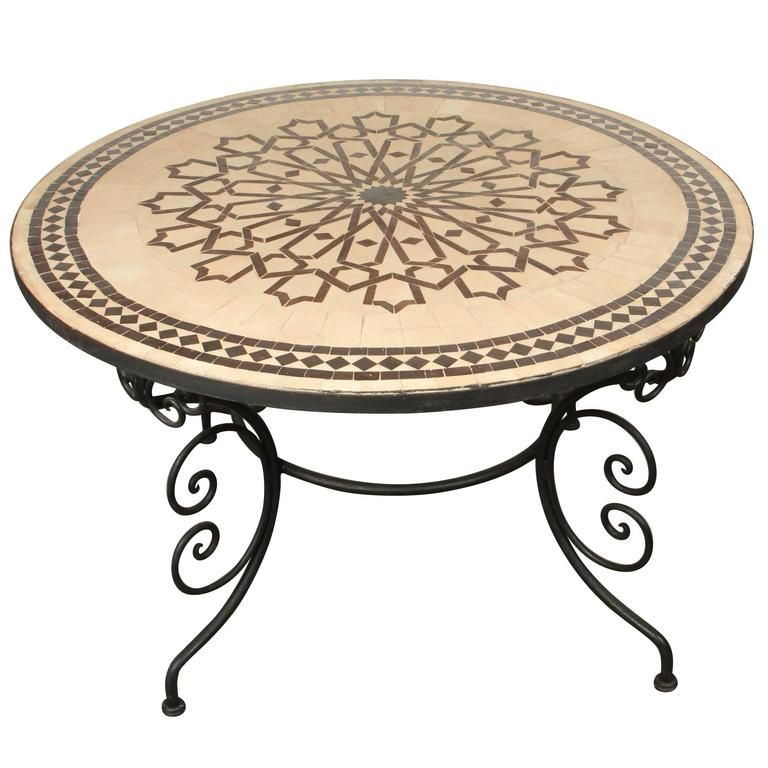 Moroccan Round Mosaic Outdoor Tile Table On Iron Base 47 In Tile