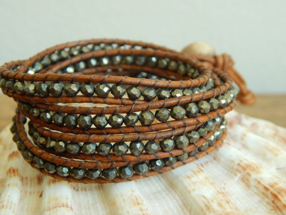 Leather wrap bracelet pyrite nuggets bohemian by BeaDazzleJewels, $109.00