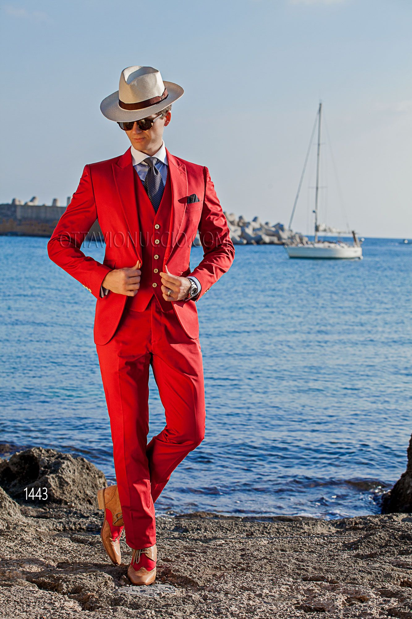 Red cotton tuxedo with matched vest #bespoke #madeinitaly ...