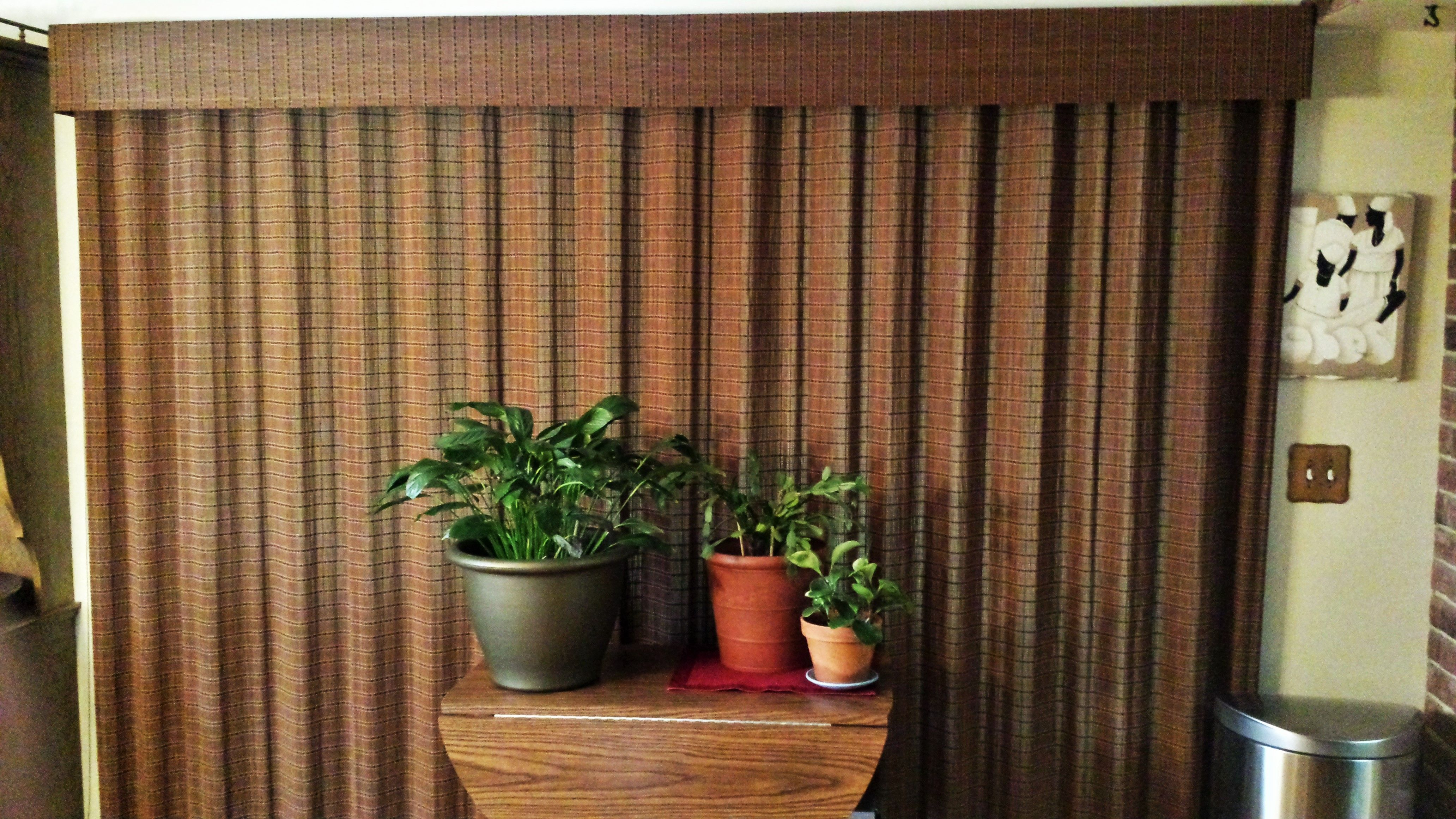 Hunter Douglas Provenance Woven Wood Vertical Drapery With Standard Cord  Control Over Patio Door In Kitchen/eating Area Of Home In Saint Louis Park,  MN.