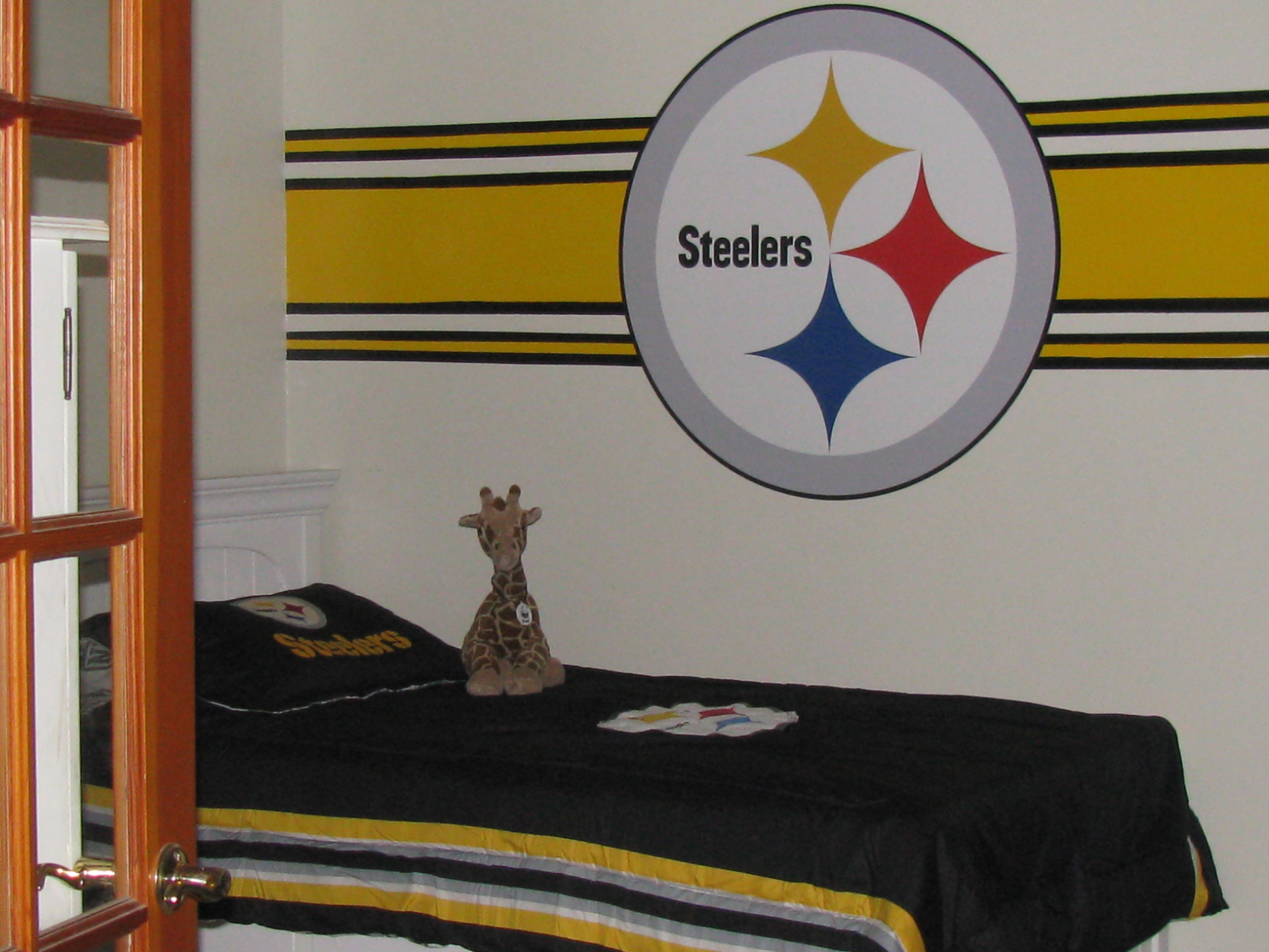I Painted The Stripes And Stuck A Fathead In The Middle For A Professional Look Kids Rugs Decor Room