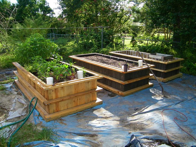 three wicking beds old