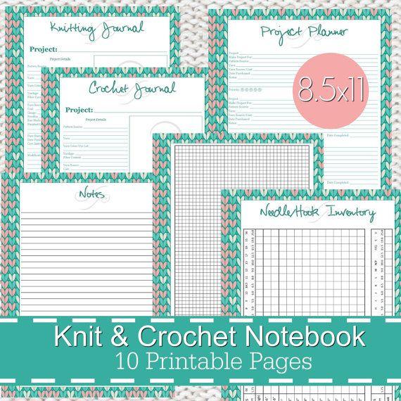 Knitting Crochet Planner Notebook Journal Printables PDF, knitting ...
